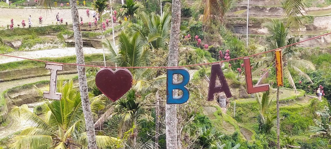I Love Bali Colourful Hanging Sign above Rice Fields in Bali