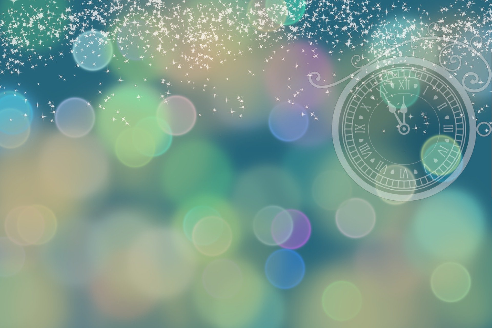 Colorful Background with a clock in right corner with Roman numbers